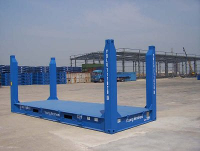 20 flat rack fixed end sea container