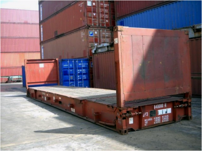 40 flat rack fixed end sea container