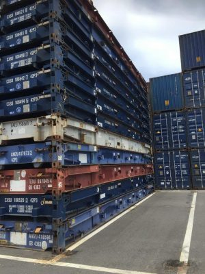 40 new flat rack fixed end sea container